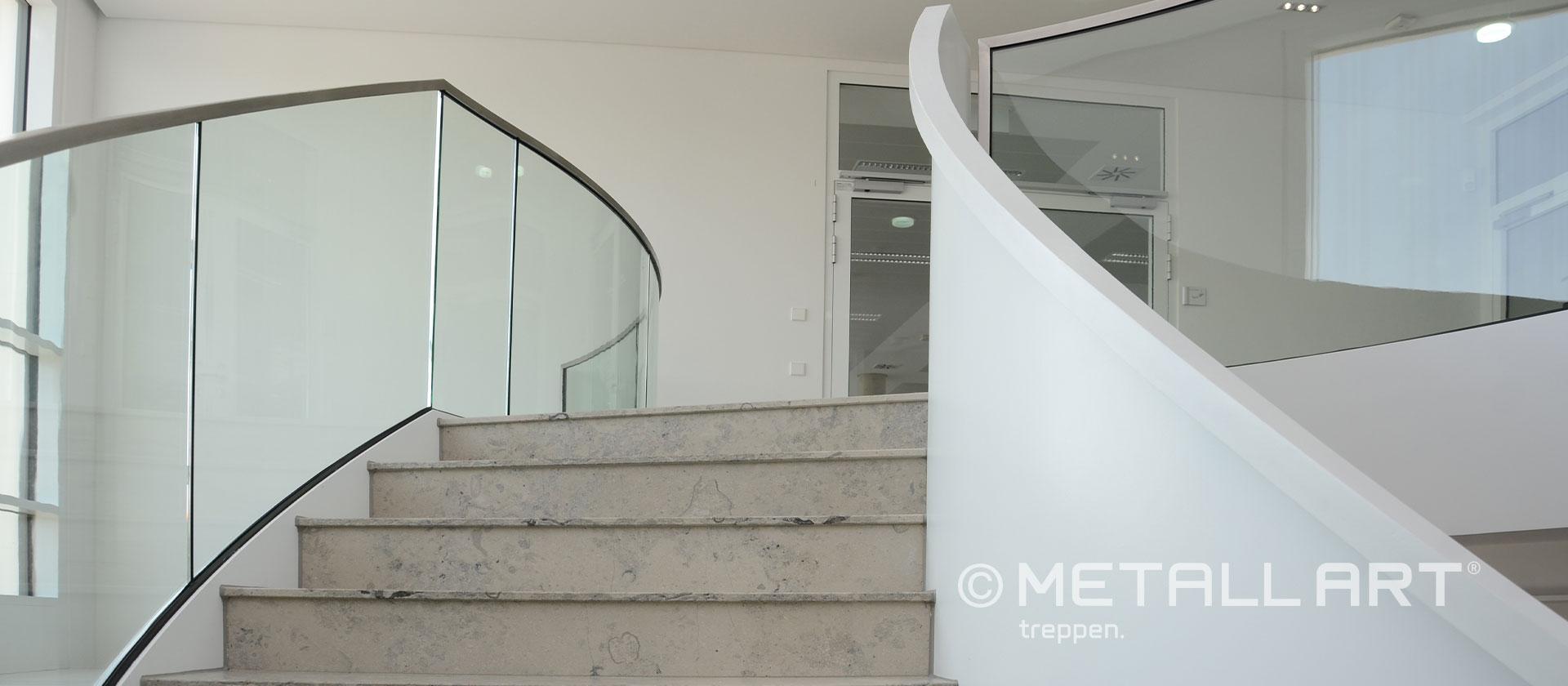 Geländer für Treppe Glas gebogen